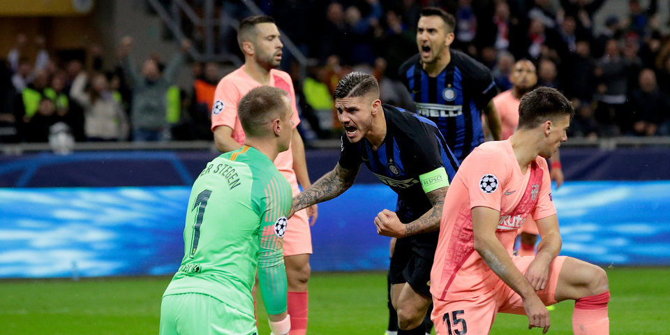 Огненная концовка матча «Интер» — «Барселона». Все голы