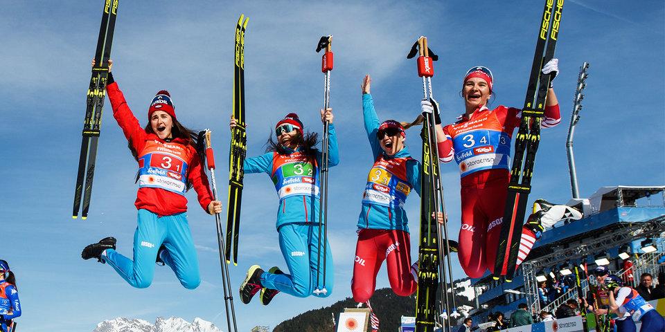 Лучшие после лучших. Российские лыжницы взяли эстафетную медаль ЧМ. Видео