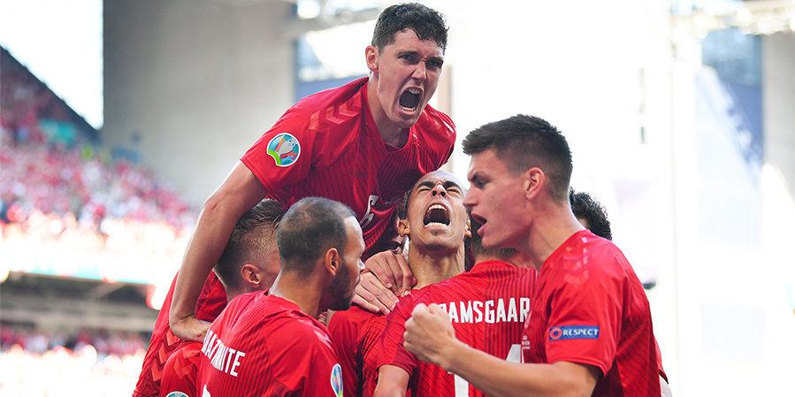 Дания впервые забила 10 голов на чемпионатах Европы в одном турнире
