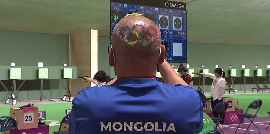 Тренер сборной Монголии по стрельбе сделал прическу в форме олимпийских колец