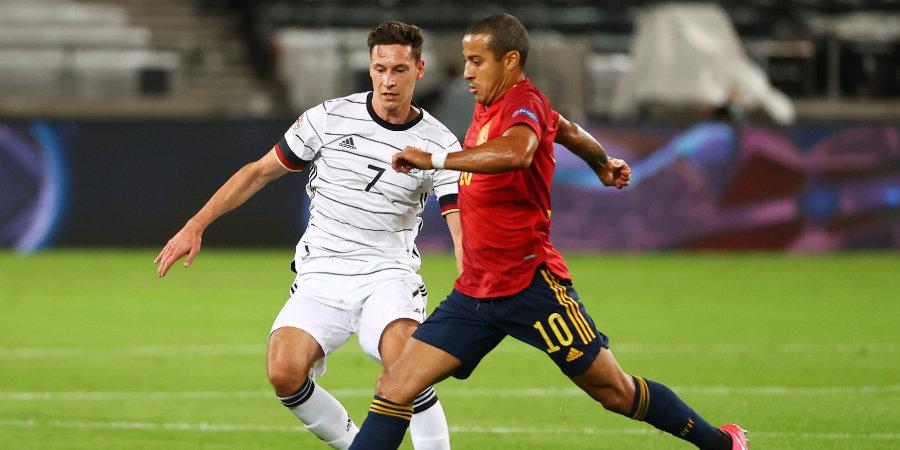 Германия была лучше даже без 6 игроков «Баварии» и «Лейпцига». Испанию спас Тьяго (пока еще игрок мюнхенцев). Разбор топ-матча