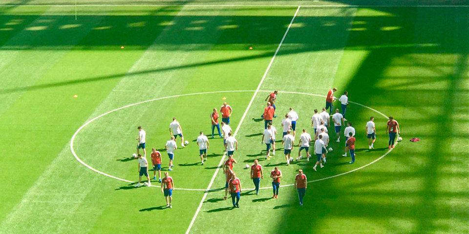 Сборная России проводит тренировку перед матчем с Египтом