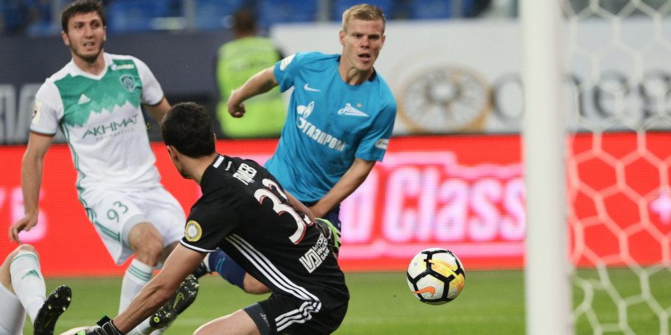 «Зенит» в большинстве обыгрывает «Ахмат», Кокорин снова забил: голы и лучшие моменты