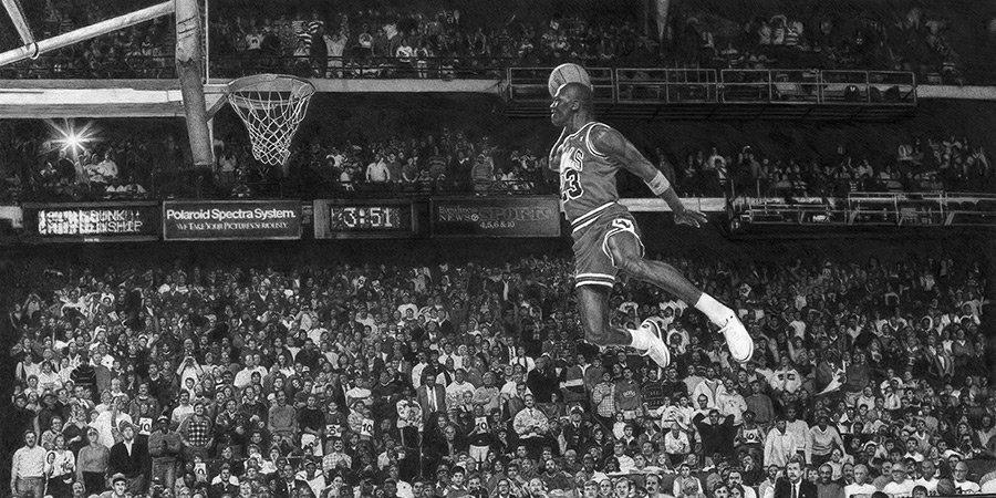 Художник из Сиэтла изобразил летящего Джордана. Вы не поверите, но это рисунок карандашом, на который ушло 250 часов