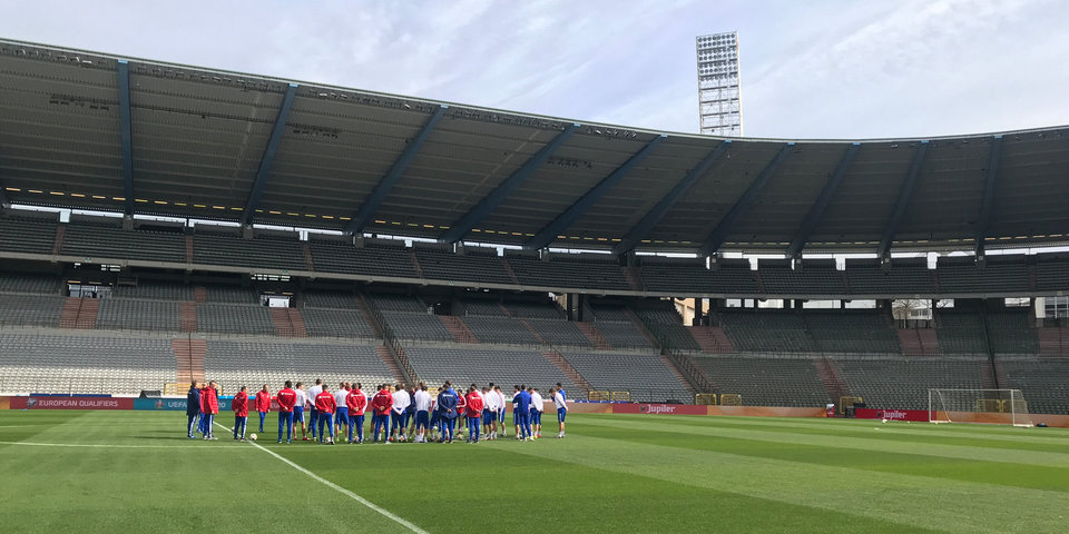 Сборная России провела предыгровую тренировку в Бельгии