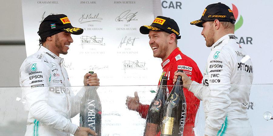 Боттас и Хэмилтон оформили четвертый дубль в сезоне, Квят сошел. Лучшие моменты гонки в Баку
