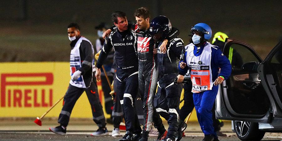 Гран-при Бахрейна возобновлен после аварии Грожана. Спустя круг на трассе появилась машина безопасности