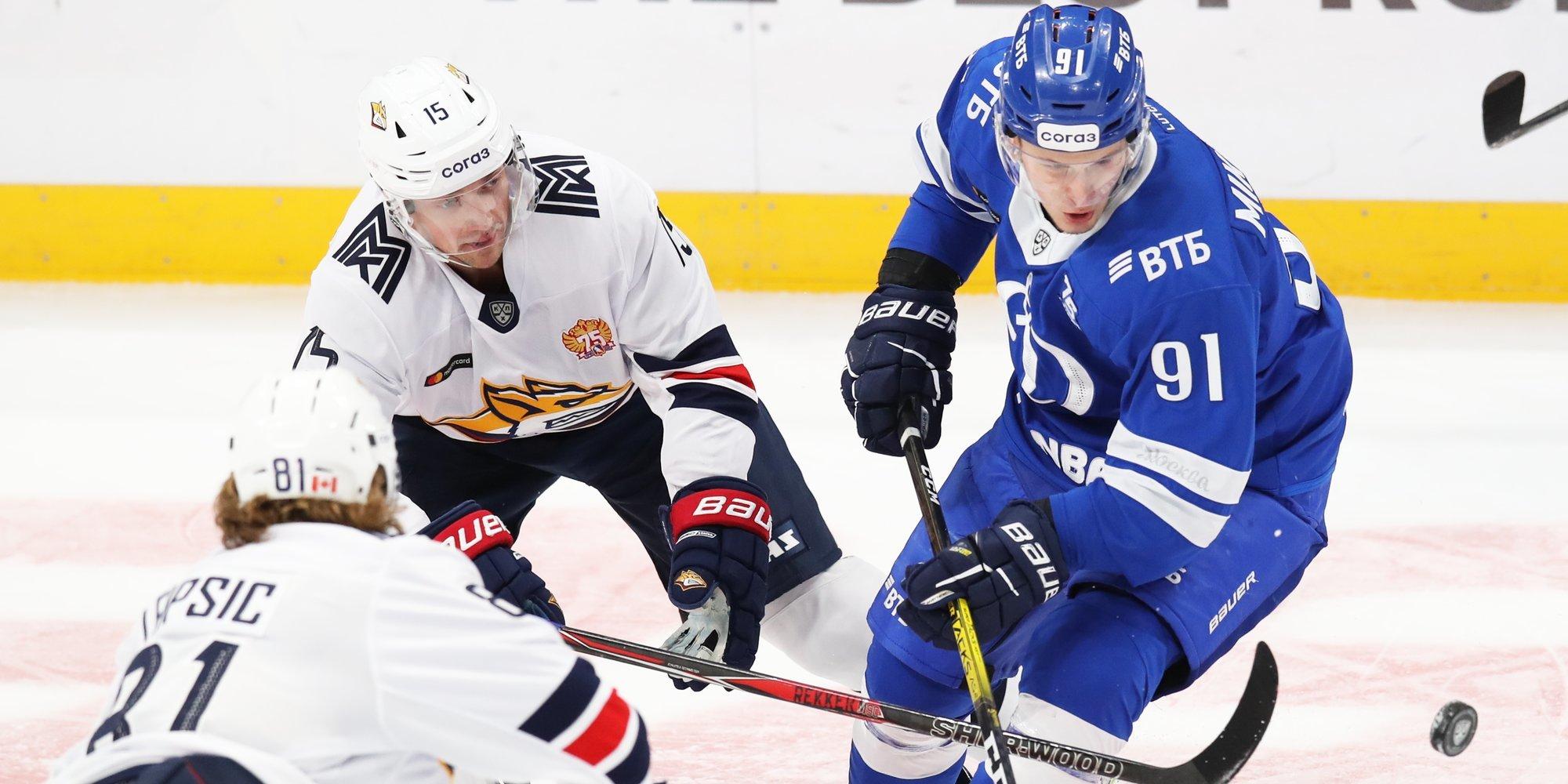 Четыре очка Голдобина принесли «Металлургу» победу над «Динамо» в матче лидеров конференций КХЛ