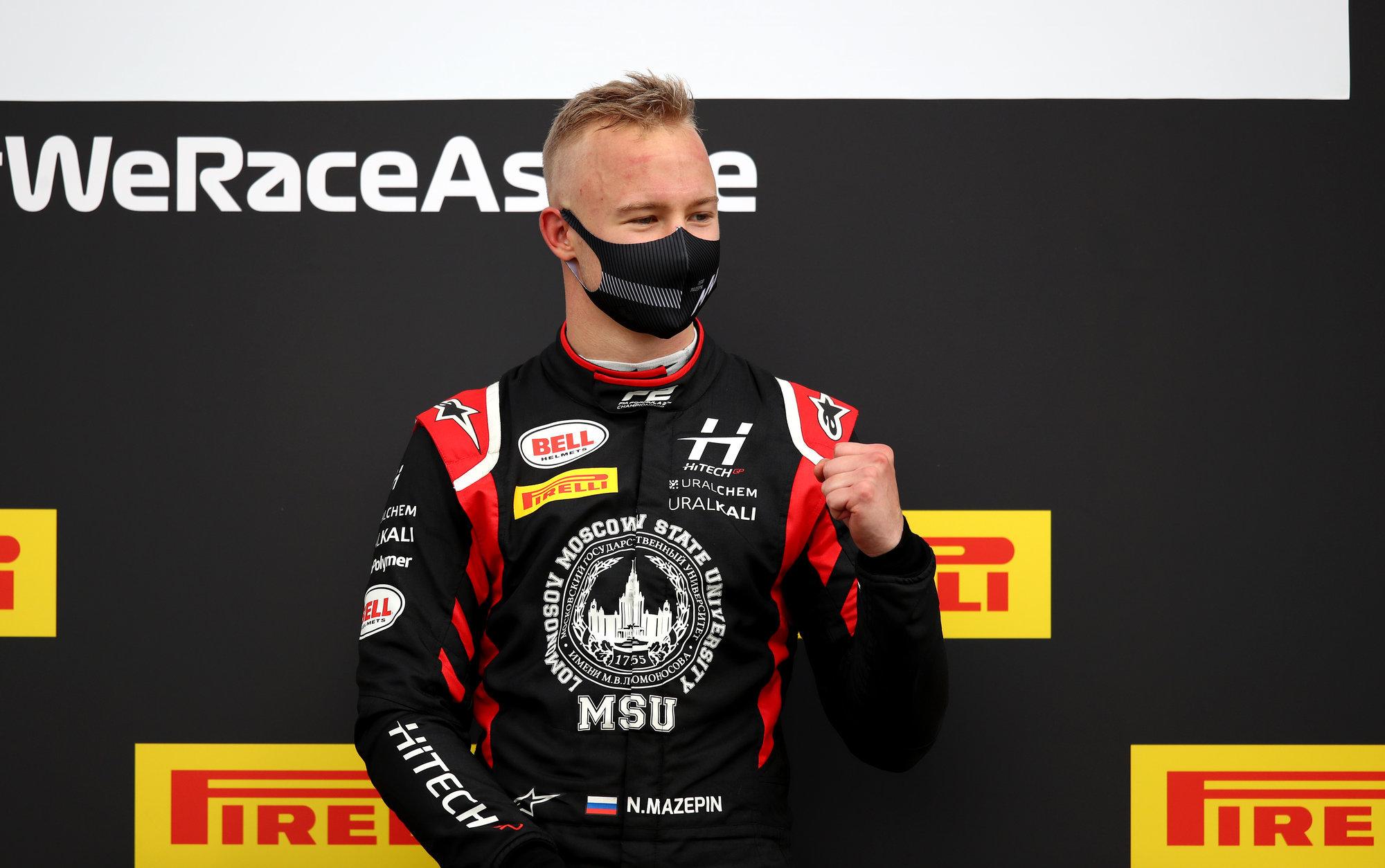 Мазепин попал на пьедестал второй гонки «Формулы-2» в Сочи. Соревнование прервали после семи кругов из-за аварии