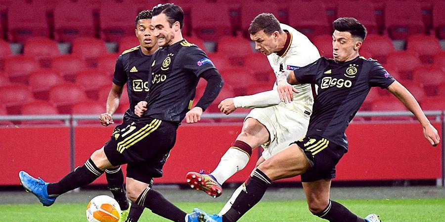 «Рома» вырвала победу у «Аякса», «Арсенал» сыграл вничью со «Славией» в первом четвертьфинальном матче ЛЕ