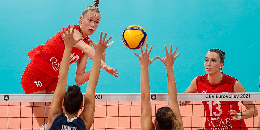 Российские волейболистки проиграли Италии в четвертьфинале чемпионата Европы